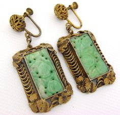 RARE Antique Vtg Art Deco Chinese Carved Apple Jade Panel Dangle Screw Earrings | eBay