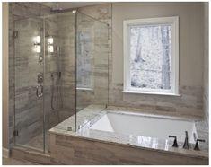 Bathroom Tub Shower, Bathroom Flooring, Bathroom Cabinets, Bathroom Mirrors, Bathroom Fixtures, Marble Bathrooms, Boho Bathroom, Bath With Shower, Bathtub Shower Combo