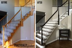 How To Gel Stain Ugly Oak Banisters Without Sanding Practicallyspoiled. Stair Banister, Banisters, Railings, Painted Banister, Black Stair Railing, Banister Ideas, Oak Handrail, White Staircase, Staircase Ideas