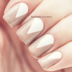 Deborah Lippmann - Fashion nail polish nail art manicure white triangle nude manicure nail art