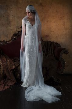 Vintage Wedding Dresses 2016 Wedding Dresses Eliza Jane Howell 'The Grand Opera' Collection - I'm blown away by today's theatrical-inspired wedding dress feature. Gill Harvey has brought together her years of experience to create Eliza Jane Howell 2016 Wedding Dresses, Bridal Dresses, Wedding Gowns, Lace Wedding, Bridal Veils, Wedding Veil, Gatsby Wedding Dress, Art Deco Wedding Dress, Flapper Wedding