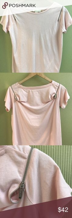 Pink Michael Kors zip t-shirt Michael Kors light pink shoulder zipper t-shirt Michael Kors Tops Tees - Short Sleeve