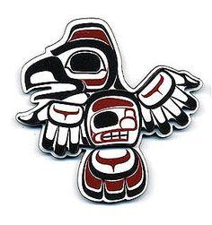 Raven 3D Magnet Nation: Bella Bella  Artist: Chris Kewistep. Native American Art
