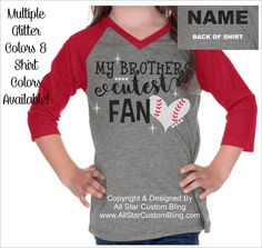 This is our original My Brothers Cutest Fan Sister design placed on a v-neck raglan shirt. This shirt is super comfy and stylish and your daughter will love showing off her baseball sister spirit! You can customize with a name on the back, two glitter colors and shirt color. See