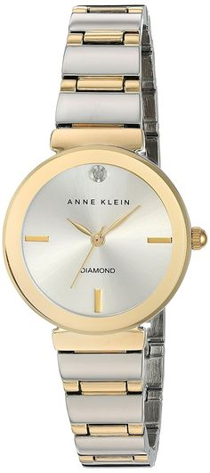 Anne Klein Women's AK/2435SVTT Diamond-Accented Two-Tone Bracelet Watch ** Read more at the image link.