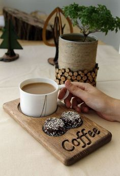 Coffee and tea service made of wood. Cafe restaurant for office and home - bar . - Coffee and tea service made of wood. Cafe restaurant for office and home – bar … - My Coffee Shop, Coffee Shop Design, Coffee Cafe, Coffee Tray, Coffee Drinks, Rustic Coffee Shop, Coffee Creamer, Coffee Menu, Tea Tray