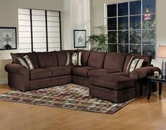 Serta Olympian Chocolate Chaise Sectional , sectionals - Serta Upholstery, My Furniture Place Condo Furniture, Sectional Furniture, Furniture Catalog, Living Room Furniture, Furniture Outlet, Brown Sectional Sofa, Couch, Fabric Sectional, Sofa Upholstery