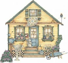 Adorable garden and yellow house Storybook Cottage, Cottage Art, Shabby Cottage, House Illustration, Illustrations, Casas Country, Image Digital, Cute House, House Quilts