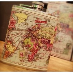 World Map Hip flask | The Letteroom
