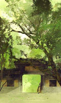painting and tree image Fantasy Landscape, Landscape Art, Fantasy Art, Fantasy Books, Art Asiatique, Illustration Art, Illustrations, Zen Art, Environmental Art