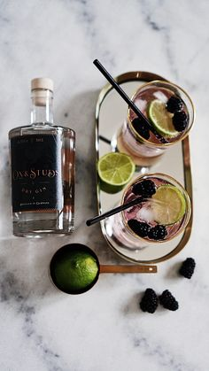 Ox & Studs Gin & Tonic with blackberry and lime