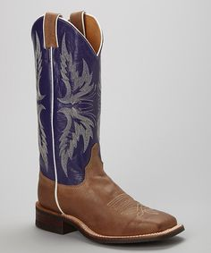 Loving this Tan Vintage Leather Cowboy Boot on #zulily! #zulilyfinds