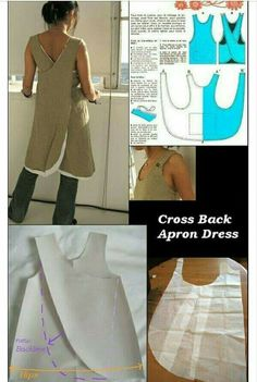 how to fit this apron pattern to fit larger hips Supernatural Style how to fit this apron pattern to fit larger hips. I have one of these aprons that was made by someone else. Cross back apron dress pattern roughly translated to Engli Resultado de imagen Sewing Aprons, Sewing Clothes, Diy Clothes, Sewing Tutorials, Sewing Hacks, Sewing Crafts, Sewing Tips, Fabric Crafts, Sewing Projects For Beginners