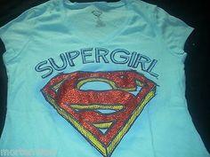 JUNIOR-GIRLS-SUPER-GIRL-LIGHT-BLUE-V-NECK-GRAPHIC-TEE-SHIRT-LARGE-11-13