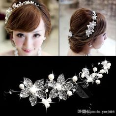 8e0f6a16f 2015 cheap hot spring bridal tiaras crowns in stock headband wedding hair  accessories faux pearl flower