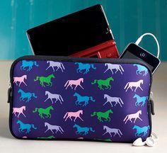 Horse Print Neoprene Padded Zipper Bag | ChickSaddlery.com