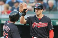 Cleveland Indians Bradley Zimmer greets Michael Brantley after both scored in the first inning against the New York Yankees, Indians up 2-0 at Progressive Field, Cleveland, Ohio, on August 3. 2017. (Chuck Crow/The Plain Dealer). Indians won 5-1