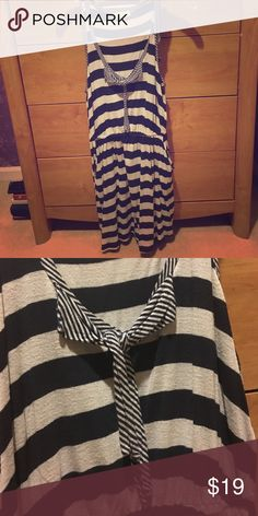 Nautical striped dress. Super comfy. Has pockets! Stretchy at the waist. 100% cotton. Slight pilling that's not at all noticeable. Fits size 4-8. Pins and needles brand bought at Urban Outfitters. Urban Outfitters Dresses Mini