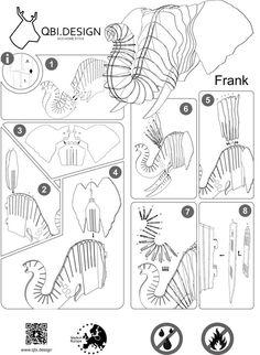 Frank animal de elefante de cartón trofeo pared 3D