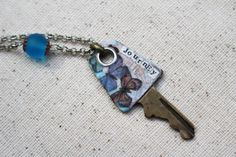 Key Pendant Mixed Media Necklace Blue Beaded by LittleBitsOFaith