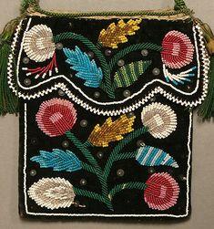 Antique 19c Native American Iroquois Beadwork Beaded Flat Bag Pouch c1850 80…