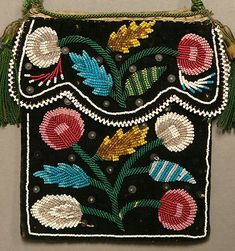 Antique 19c Native American Iroquois Beadwork Beaded Flat Bag Pouch c1850 80 | eBay