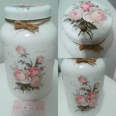 Image shared by Pra quem tem Estilo. Find images and videos about diy on We Heart It - the app to get lost in what you love. Decoupage Jars, Decoupage Vintage, Diy Bottle, Bottle Crafts, Mason Jar Crafts, Mason Jars, Recycled Glass Bottles, Jar Art, Shabby Chic Crafts