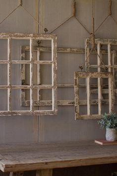 Window Frame Wall Decor Old Rustic Window Wall Art Set of 4 841628136487 Window Frame Decor, Old Window Frames, Frames On Wall, Framed Wall Art, Rustic Window Decor, Window Ideas, Window Pane Crafts, Old Window Headboard, Vintage Window Decor