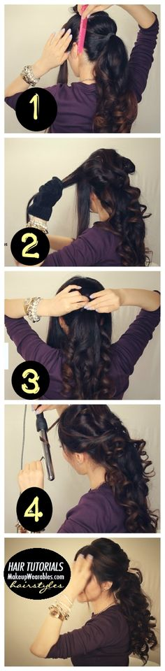 curly half-up, half-down ponytail hairstyle | hair tutorial video