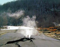 Centralia, PA. In 1962 it is believed a fire at the town dump set an underground mine on fire. It is still burning today.