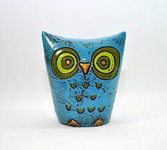 Retro Vintage Owl Bank - Fitz and Floyd - Piggybank - Savings Bank - Blue and Green
