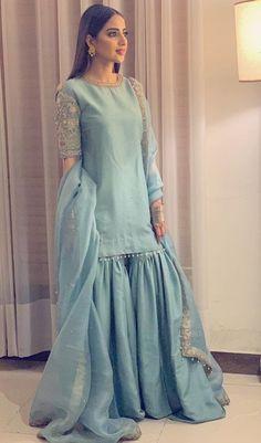 Buy Gray Color Sharara Suit by Akanksha Singh at Fresh Look Fashion Pakistani Fashion Party Wear, Pakistani Dresses Casual, Pakistani Wedding Outfits, Pakistani Dress Design, Indian Dresses, Indian Suits, Muslim Fashion, Fancy Wedding Dresses, Party Wear Dresses
