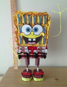 Spongebob Candy Centerpiece Second Birthday Ideas, Sons Birthday, Birthday Board, Candy Decorations, Birthday Decorations, Spongebob Birthday Party, Get Well Gifts, Candy Bouquet, Monster Party