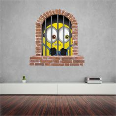 Minions great wall sticker for the kids (decal) Bedroom Stickers, Wall Stickers, Wall Decals, Empty Wall, Window Wall, Minions, Brick, Prints, Kids
