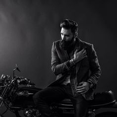 Luke Ditella - full thick bushy black beard and mustache dark beards bearded man men mens' model style fashion clothing hair haircut styles groomed barber motorcycle bikes #beardsforever
