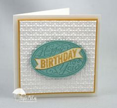 Stamp Set(s):Best of Birthdays Paper:Daffodil Delight, Pool Party, Whisper White Ink:Daffodil Delight, Pool Party Tools: Mat Pack, Paper Piercer, Paper Snips, Simply Scored, Simply Scored Diagonal Plate Adhesives: Snail,  Dimensionals Punches:Wide Oval Big Shot:Square Lattice Textured Impressions Embossing Folder,