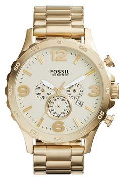 Men's Fossil 'Nate' Chronograph Bracelet Watch, 50mm -