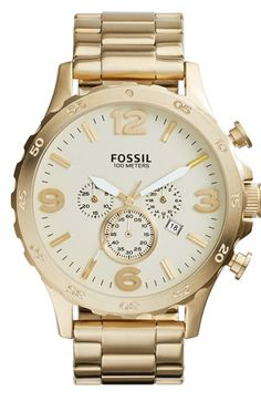 Men's Fossil 'Nate' Chronograph Bracelet Watch, 50mm -