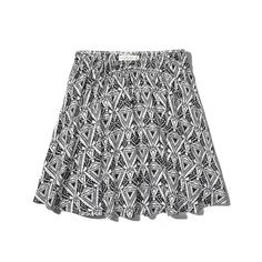 Abercrombie & Fitch Olivia Natural Waist Skater Skirt (56.135 COP) ❤ liked on Polyvore featuring skirts, faldas, black and white pattern, flared skirt, circle skater skirt, pattern skirt, flared skater skirt and skater skirt