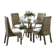 Panama Jack Sunroom Exuma 5 Piece Dining Set Upholstery: Canvas Canvas