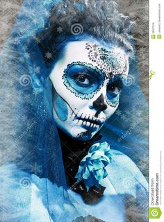 winter-make-up-sugar-skull-beautiful-model-ice-santa-muerte-concept-36037819.jpg (957×1300)