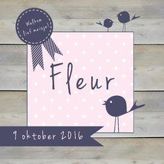 Geboortekaartje Fleur - www.babyjewels-geboortekaarten.nl Birth Announcements, Decor, Decoration, Decorating, Deco