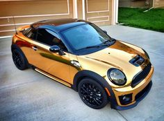 awesome golden Mini Cooper