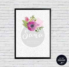 Custom Name Birth Details Print  Monochrome Floral Grey  I love the watercolour flowers