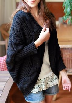 Black Plain Cable Print Dolman Sleeve Cardigan Sweater