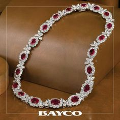 Oval shaped pigeons blood Burma rubies, perfectly matched, sit majestically in this #Bayco Magnificent Collection necklace ❤️ #bayco #baycojewels #ruby #diamond #highjewelry #hautejoaillerie #themostpreciousstonesintheworld #luxury #newyork #precious #gemstones #top #royal #royalcollection