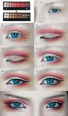 Cosplay Eyes Make-up von Mollyeberwein auf DeviantArt - schminken Anime Eye Makeup, Anime Cosplay Makeup, Makeup Art, Beauty Makeup, Makeup Drawing, Geisha Makeup, Diy Beauty, Beauty Hacks, Make Up Geek