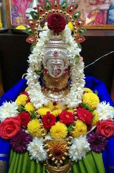 Varalakshmi Vratham 2019 honours the most popular Goddess Maha Lakshmi. Varalakshmi Puja or homam on this day means abundant wealth is sure to come your way. Festival Decorations, Ceremony Decorations, Flower Decorations, Diwali Pooja, Silver Pooja Items, Ganapati Decoration, Pooja Mandir, Pooja Room Door Design, Puja Room