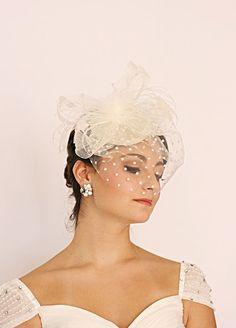 Fascinator Mini Hat Veil Hat Bridal Headpiece Bridal Hat by ORNENT