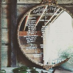 Our new addition! At more than 3 feet in diameter it's beautiful for chalking a menu or a table number chart. #mirror #tablechart #menu #roundmirror #bridalsuite #gold #reflectionofbeauty #amazing